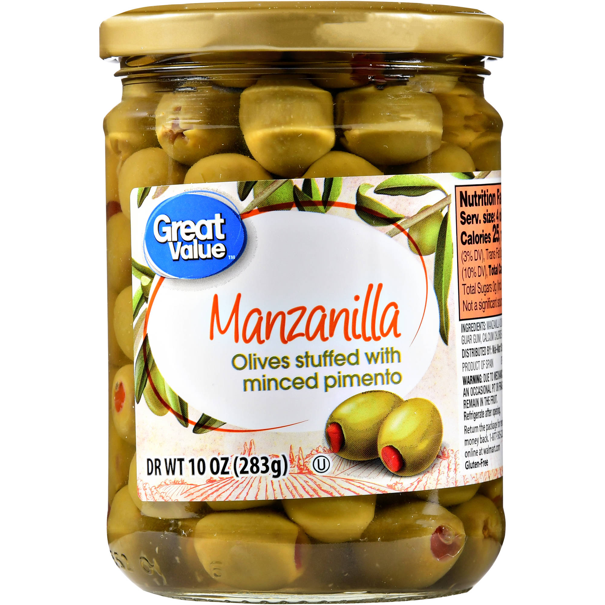 Generic Great Value Minced Pimiento Stuffed Manzanilla Olives, 10 Oz