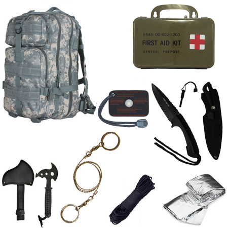 Ultimate Arms Gear Level 3 Assault Molle Acu Army Digital Camo Backpack Kit  Signal Mirror  Polarshield Blanket  Knife Fire Starter  Wire Saw  Axe  50 Foot Paracord   First Aid Kit
