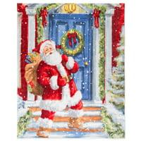Christmas Throw 48X60 Santa At The Door