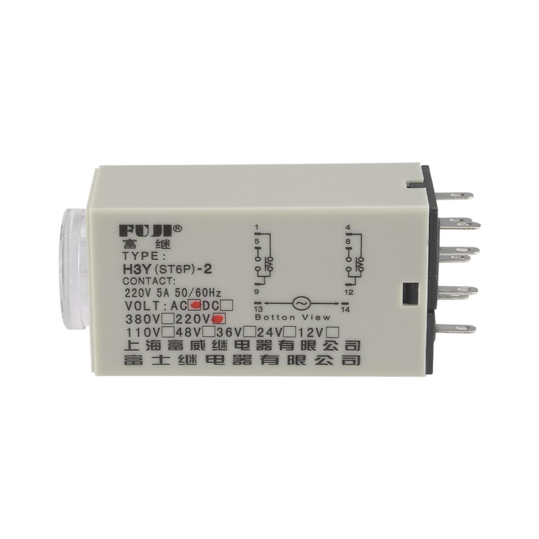 220VAC 60S 8 Terminals Range Adjustable Delay Timer Time Relay H3Y-2 w base - image 2 of 6