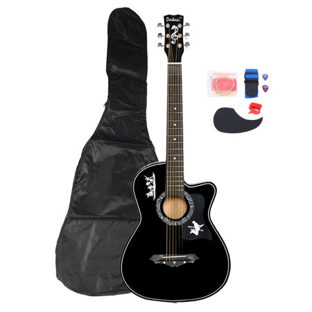 Basswood Guitar with Bag Straps Picks LCD Tuner Pickguard String Set Black DK-38C