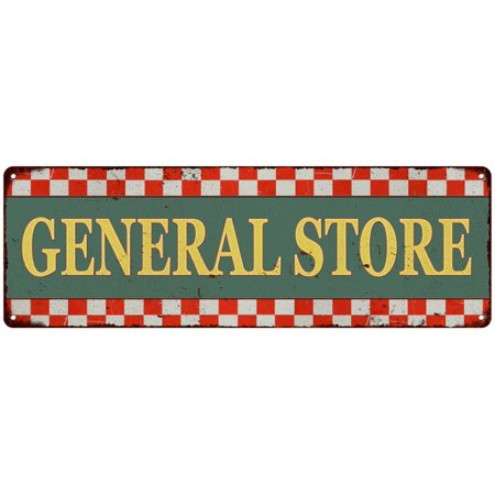 General Store Checkerboard Country Style Vintage Metal Sign 8x24 108240075005