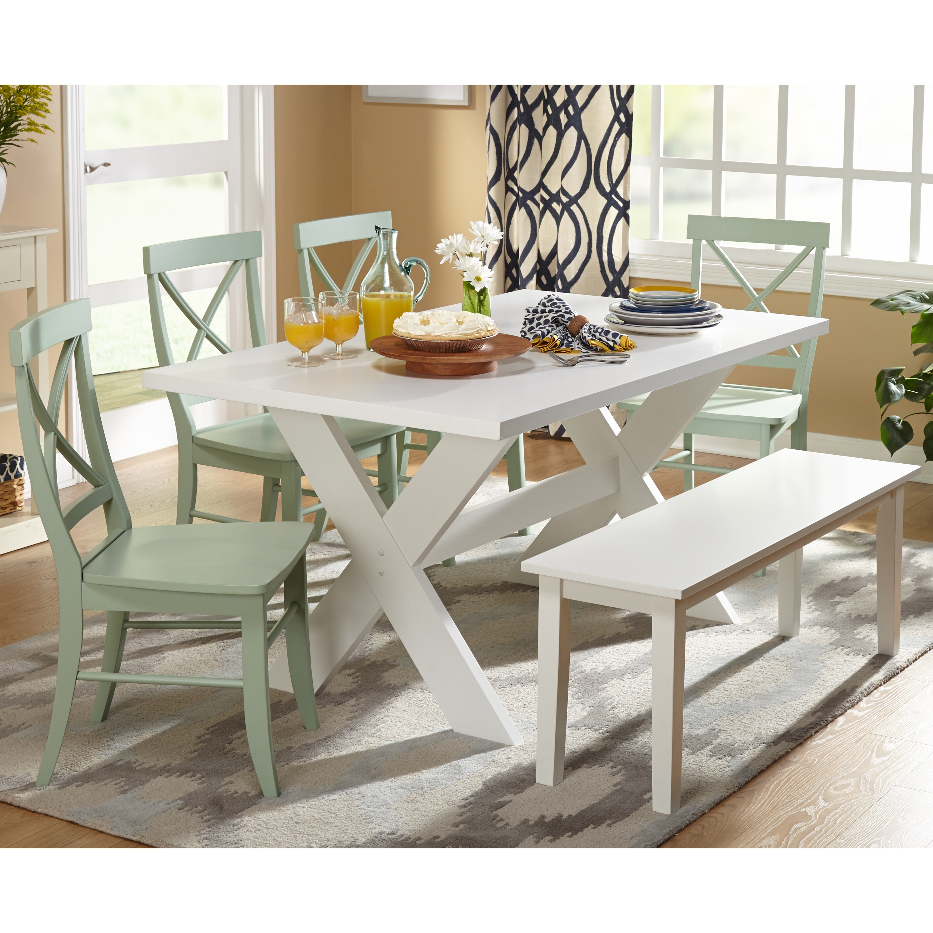 Dining room table bench White Product Image Simple Living 6piece Sumner Dining Set With Dining Bench Walmart Dining Sets With Benches Walmartcom