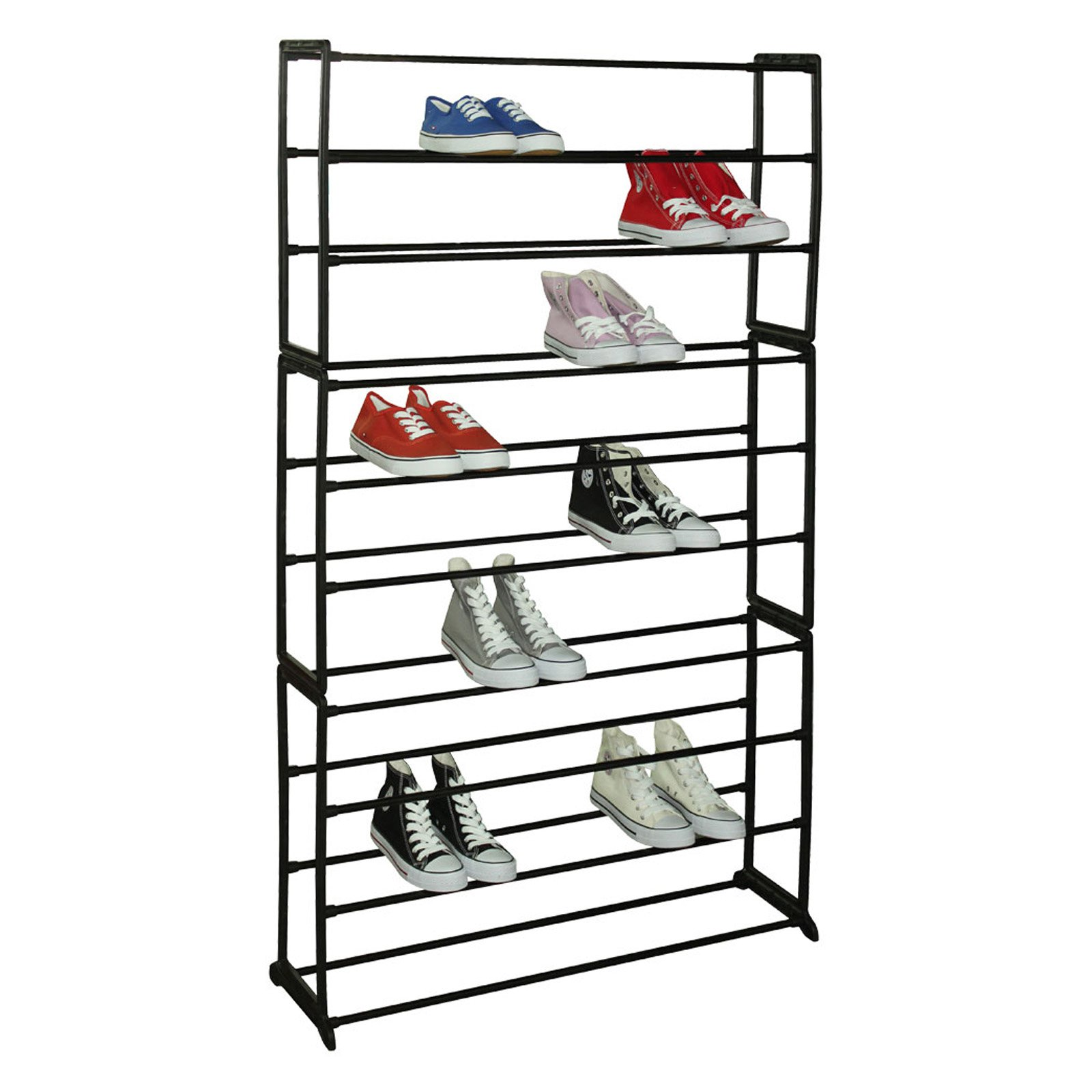 Sunbeam 50-Pair Shoe Rack, Black