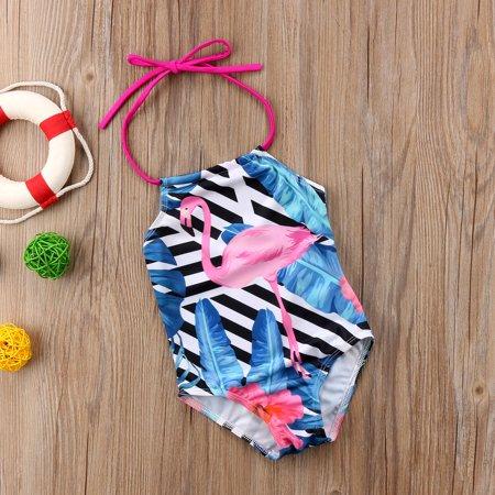 Kids Girls Swimwear Sleeveless Halter Swimsuit Bikini Swimming One-Piece Striped Beachwear