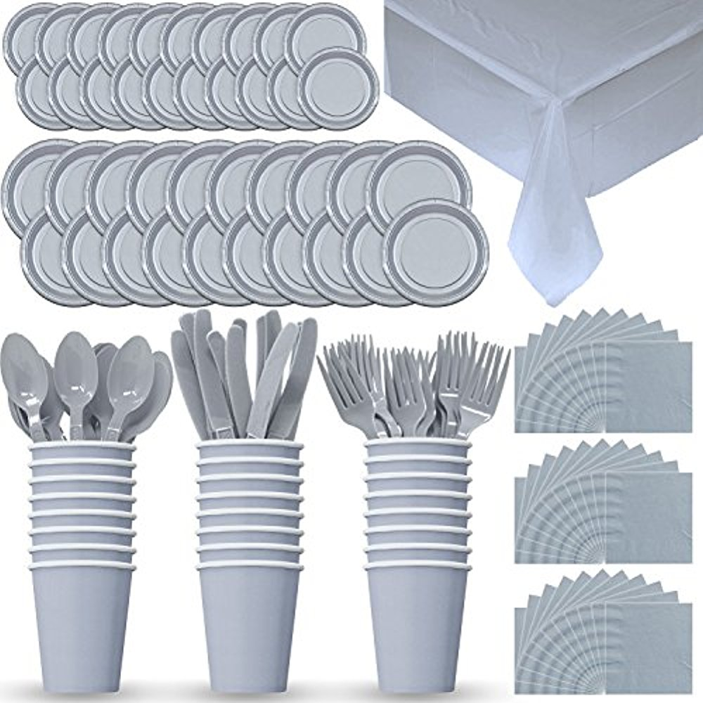 Party Supply Pack for 24 - Silver - 2 Size plates, Cups, Napkins , Cutlery (Spoons, Forks, Knives), and tablecovers. (Sliver)