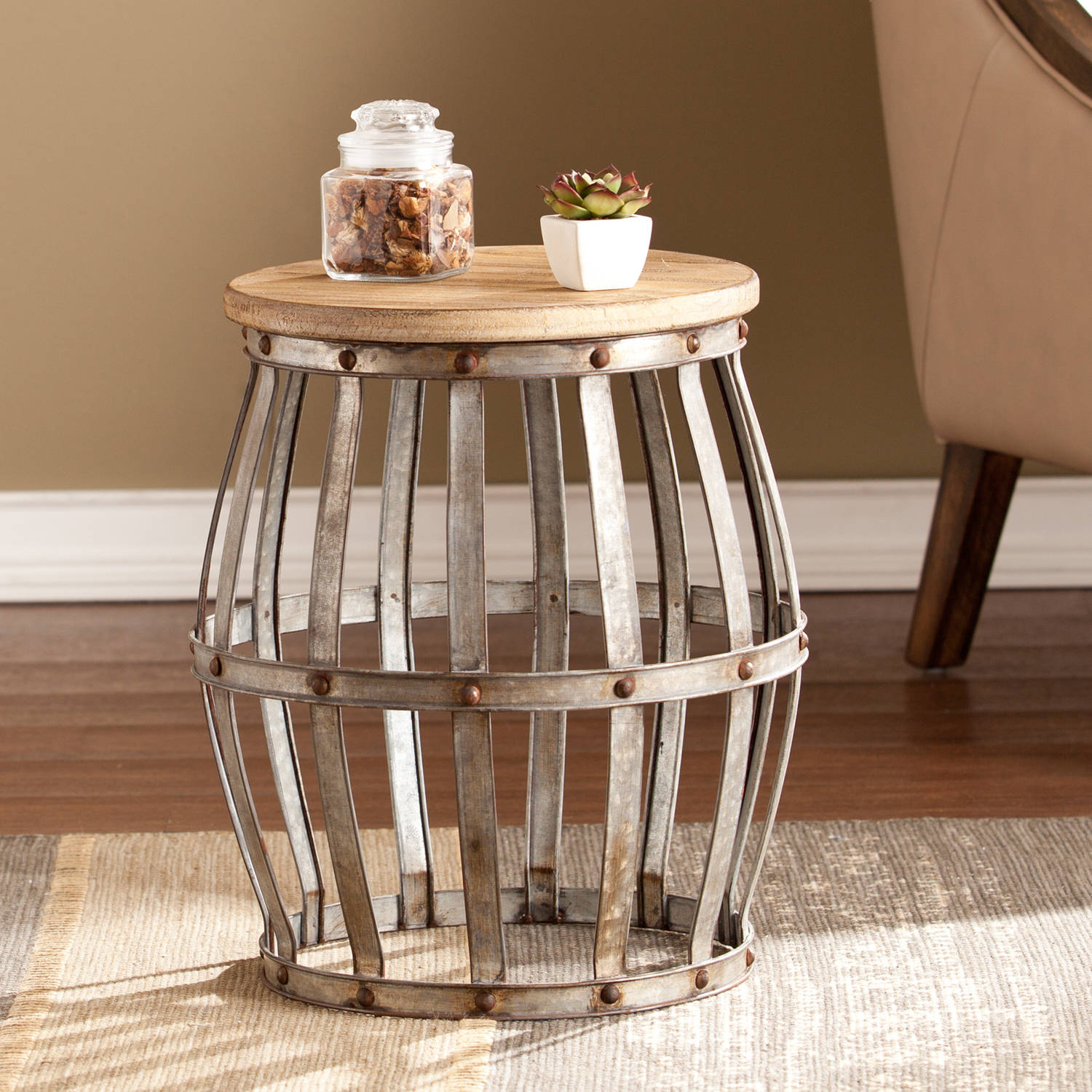 Southern Enterprises Wine Barrel Accent Table, Antique Silver