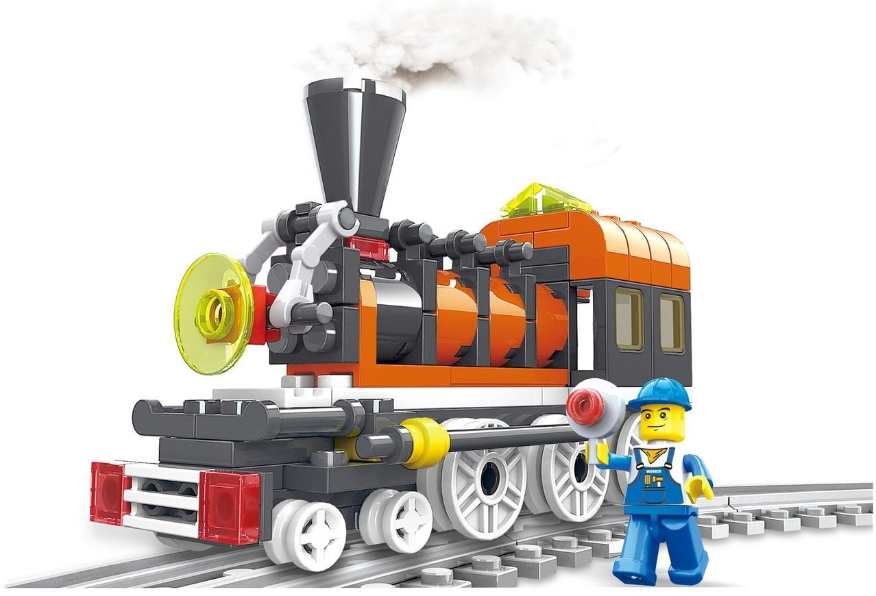 Engine Train 99pcs 3 in 1 building blocks locomotive sets complete with tracks, station master figure, Great... by Little Builder