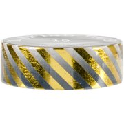 Love My Tapes Foil Washi Tape 15mmx10m-Black Gold Stripes