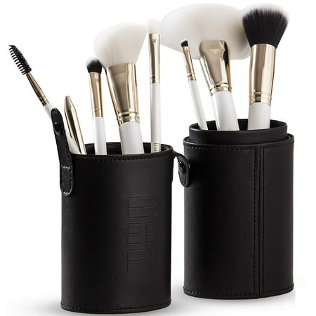 Professional Makeup Brush Set – 8 Ultra-Soft, Synthetic Cosmetic Brushes and Travel Case / Holder – Makeup Brushes for Face, Eye, Brow, and