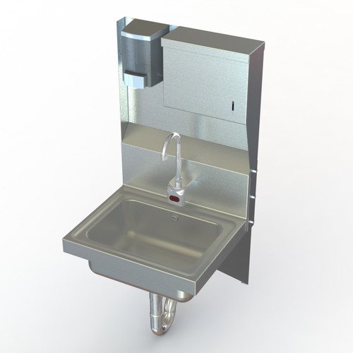 Aero Manufacturing NSF 17'' x 15'' Single Industrial Hand Sink with Faucet