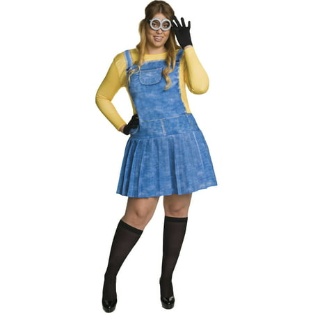 Minion Women's Plus Size Adult Halloween Costume, One Size, 16-22 for $<!---->