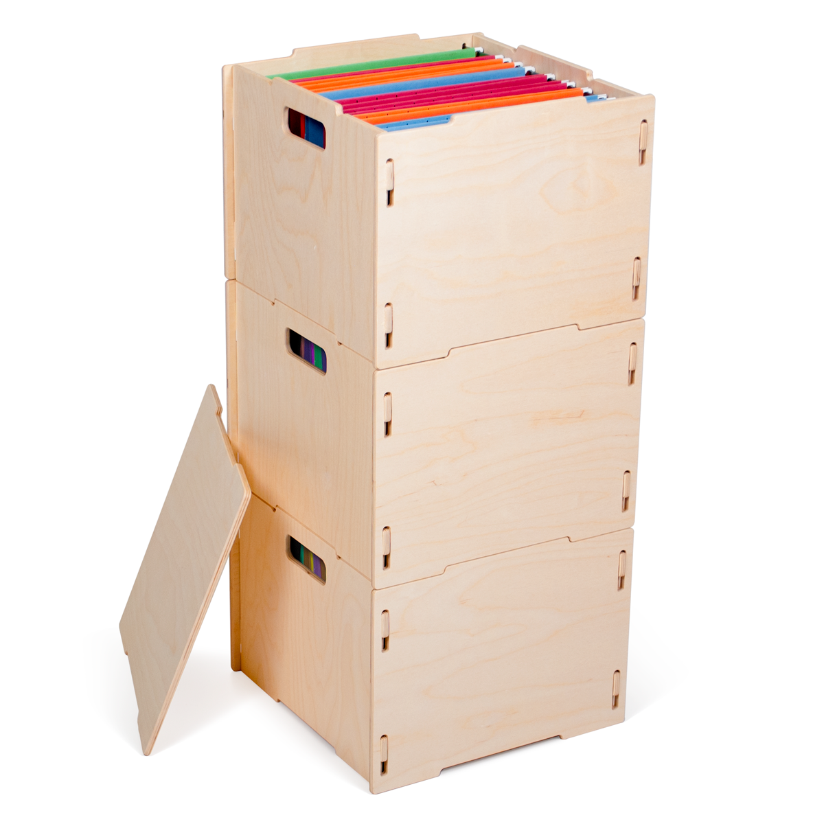 Three Unfinished Modern Wood Hanging File Boxes - By Sprout