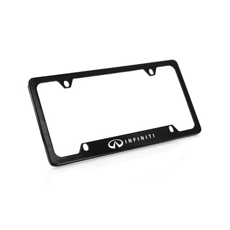 Infiniti wordmark on Black Powder Coated Zinc Metal License Plate Frame Holder 4 Hole (Infiniti Qx56 License Plate)