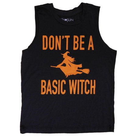 Womens Black Don't Be a Basic Witch Halloween T-Shirt Tank Top Shirt  - Size - X-Small