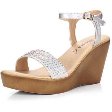 5063e04f256271 Unique Bargains Women s Rhinestones Embellished Wedge Sandals ...