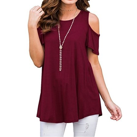 1523618171ce Fresh look - Women s Fashion Summer Solid Color O-Neck Cold Shoulder Short  Sleeve T Shirt Ladies Casual Loose Cotton Tops Blouse - Walmart.com