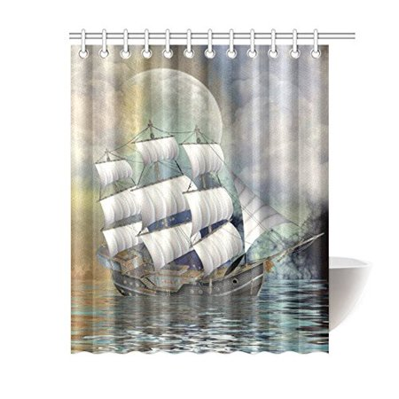 MKHERT Pirate Ship Shower Curtain Bath Waterproof Fabric Polyester Curtains 60x72 Inch