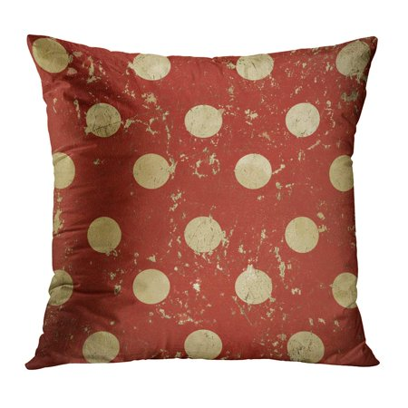 1930s Metal - ECCOT Beige 1950S Vintage Red Polka Dots Metal Grungy Old 1930S 1940S Abstract Pillowcase Pillow Cover Cushion Case 20x20 inch