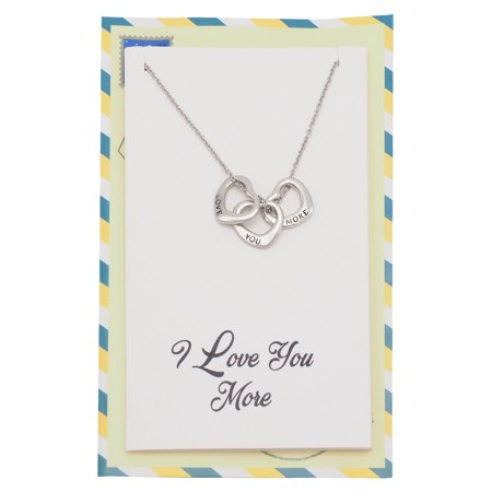 Quan Jewelry I Love You More Heart Necklace, Granddaughter, Best Friend, Girlfriend Gifts and Greeting (Best Gift From Girlfriend)