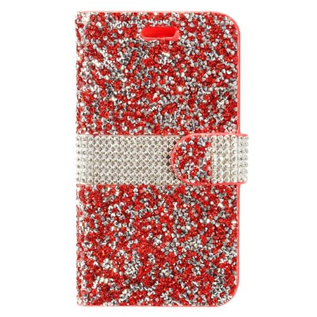 2 Pouch Pro Fastener (ZTE Blade Zmax phone case by Insten Book-Style Rhinestone Diamond Bling Leather [Card Holder Slot] Wallet Pouch Case Cover For ZTE Blade Z Max/Sequoia/Zmax Pro 2 )