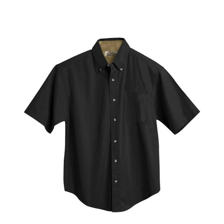 Tri-Mountain Gold Valor 788 Short Sleeve Peached Twill Shirt, 3X-Large, Black/Camel