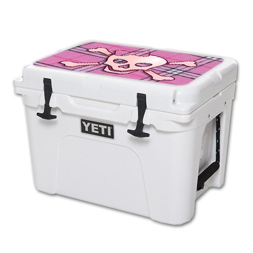 MightySkins Protective Vinyl Skin Decal for YETI Tundra 35 qt Cooler Lid wrap cover sticker skins Pink Bow Skull