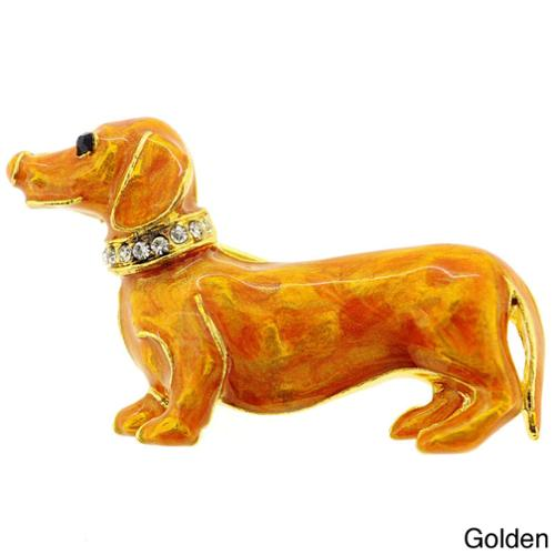 Fantasyard Golden Brown Dachshund Dog Pin Brooch by Overstock