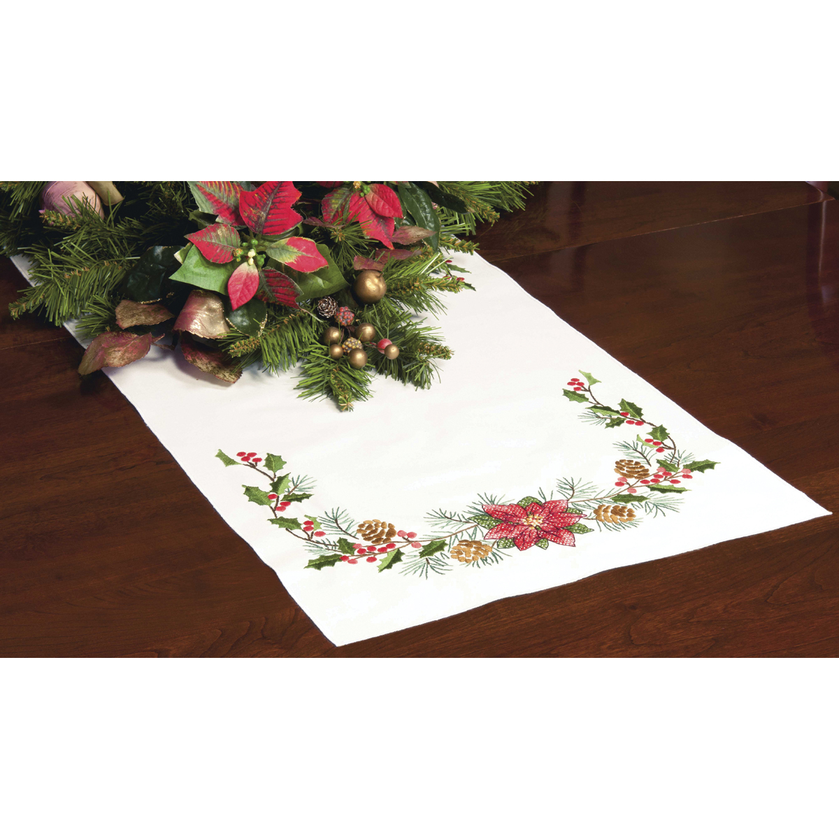 "Dimensions Christmas Greens Table Runner Stamped Cross Stitch, 15"" x 44"""