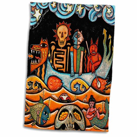 3dRose The Devil s Dream folk art skulls mexican colorful surrealism - Towel, 15 by 22-inch Colorful Mexican Folk Art