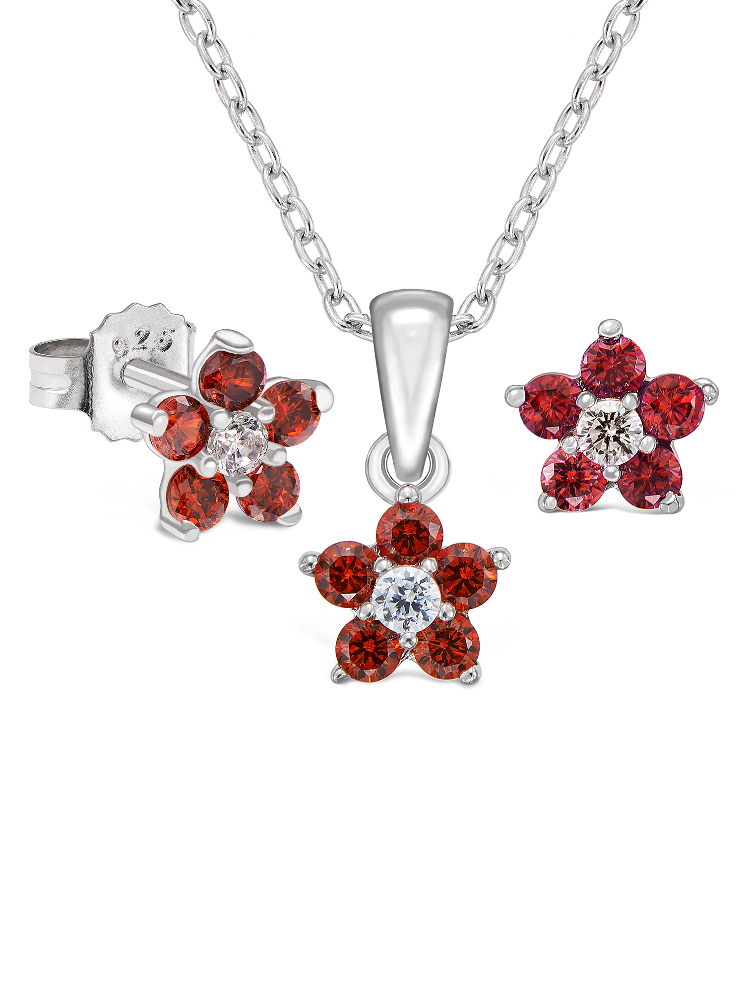 Sterling Silver Flower Earrings and Pendant Set with Simulated Birthstone & CZ for Girls, 16'' (January)