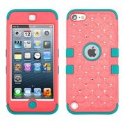 Insten Baby Red/Tropical Teal TUFF Hybrid Soft Hard Case with Diamonds For APPLE iPod Touch 6 6th 5 5th Gen