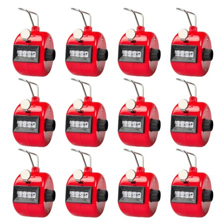 GOGO Dozen Hand Tally Counter, Plastic Clicker Counter, Black & Red (Wholesale Lot) - RED