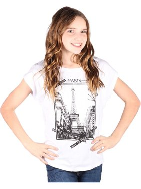 32d946b8c799f5 Product Image Lori Jane Girls White Graphic Print Paris Short Sleeve Top.  Lori   Jane