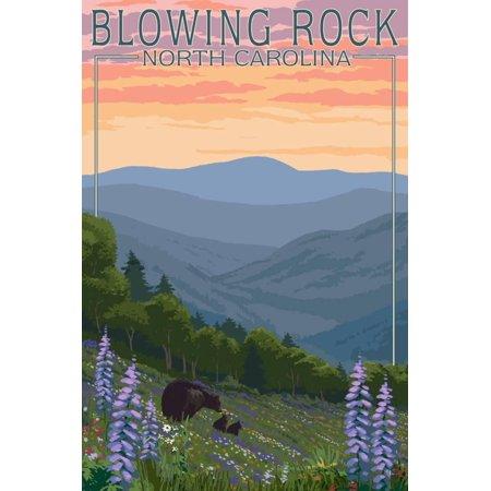 Blowing Rock, North Carolina - Spring Flowers and Bear Family Print Wall Art By Lantern Press