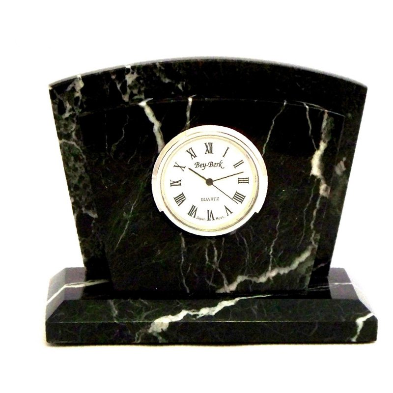 "Black ""Zebra"" Marble With Chrome Plated Clock & Letter Rack"