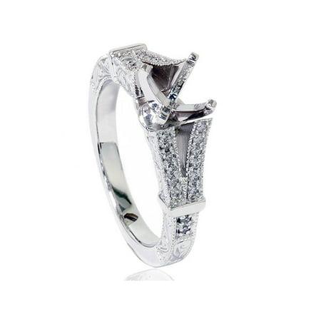 Diamond Ring Mounting - 1/5ct Split Shank Vintage Diamond Semi Mount Engagement Ring 14K White Gold