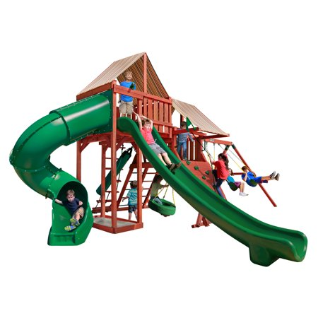 Redwood Swing (Gorilla Playsets Sun Climber Deluxe Wooden Swing Set with Sunbrella® Brannon Redwood Canopies and Punching Bag)
