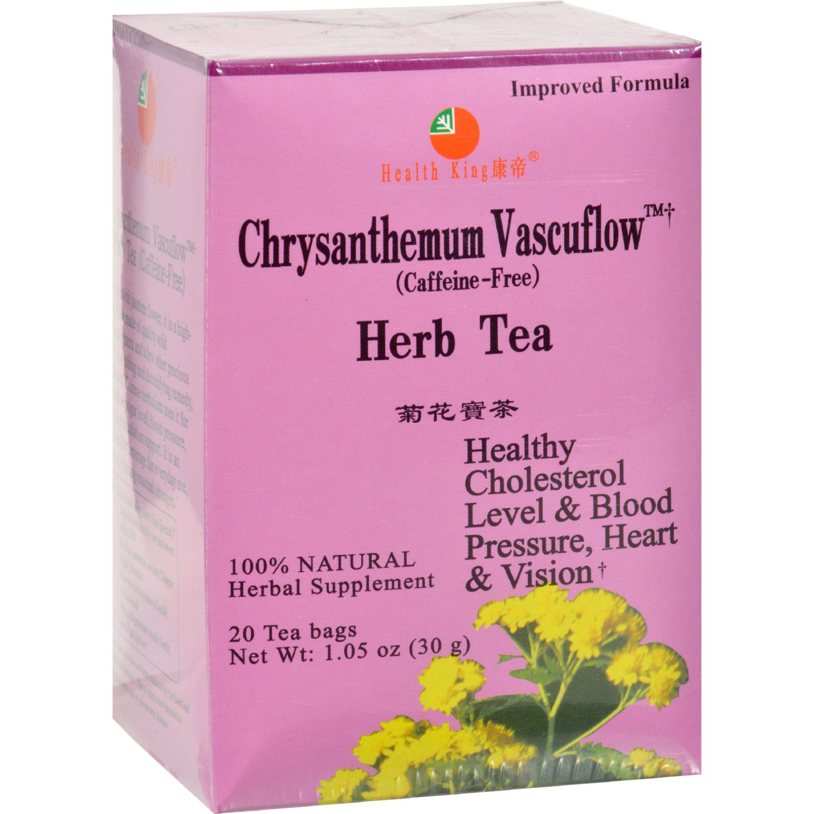 Health King Chrysanthemum Vascuflow Herb Tea 20 Tea Bags