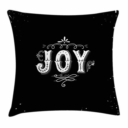 Joy Throw Pillow Cushion Cover, Retro Style Phrase Joy Christmas Themed Floral Arrangement Calligraphy Ornate Design, Decorative Square Accent Pillow Case, 20 X 20 Inches, Black White, by Ambesonne](Golf Themed Floral Arrangements)