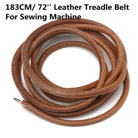 """72"""" Brown Leather Belt With Metal Hook For Treadle Singer Sewing Machine -3/16"""" Diameter - image 1 of 6"""