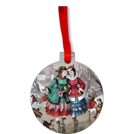 Ornaments Vintage Style Village Girls Ice Skating on the Lake Christmas Painting Round Shaped Flat Hardboard Christmas Ornament Tree Decoration - Unique Modern Novelty Tree Décor Favors](Girls Village)