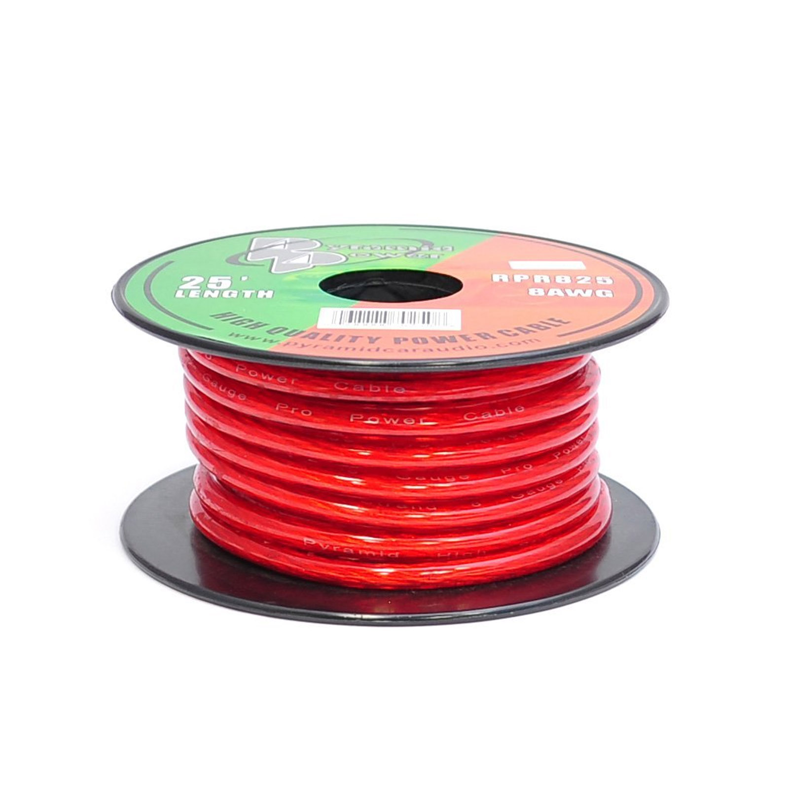 Pyramid - RPR825 - 8 Gauge Clear Red Power Wire 25 ft. OFC
