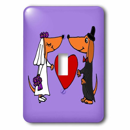 3dRose Funny Dachshund Dogs Bride and Groom Wedding Art - Single Toggle Switch for $<!---->