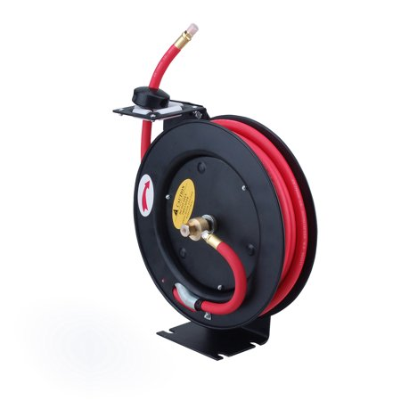 Rubber Air Hose Assembly (Steel Core Metal Retractable Air Hose Reel with 3/8in x 25ft Rubber)