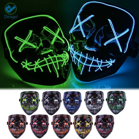Deago 3 Modes Halloween Scary Mask Cosplay Wire Led Light Up Costume Party Mask Purge Movie