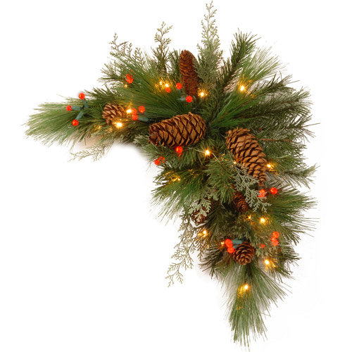 """National Tree 30"""" Decorative Collection White Pine Corner Swag with 63 Soft white and Red LED Battery Operated Lights"""