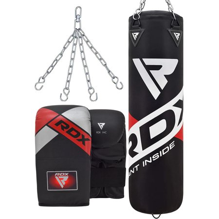 RDX Punch Bag UnFilled 4ft 5ft Boxing Set Kickboxing MMA Heavy Muay Thai Training Gloves Punching Mitts Hanging Chain Anchor Ceiling Hook Martial Arts