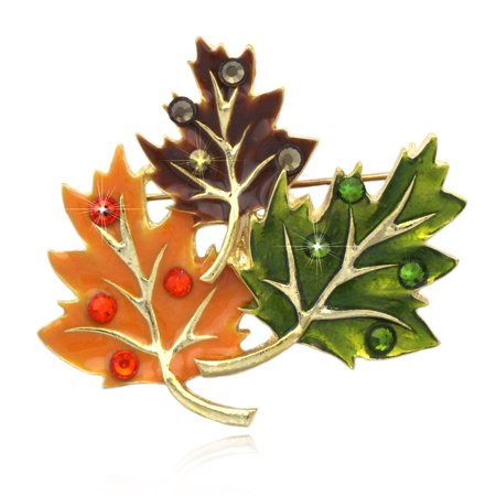 cocojewelry Fall Maple Leaves Brooch Pin Necklace Pendant Thanksgiving Jewelry