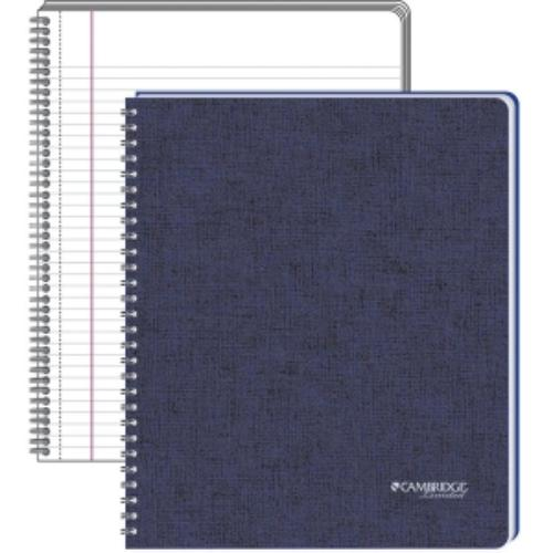 "Meadwestvaco Cambridge Business Legal Ruled Notebook - 80 Sheets - Printed - Double Wire Spiral - 20 Lb Basis Weight - Letter 8.50"" X 11"" - White Paper - Blue Cover - Linen Cover - 1each (mea-06136)"